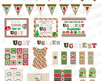 Ugly Christmas Sweater Party Supplies Printable Party Huge set  INSTANT DOWNLOAD UPrint  by greenmelonstudios