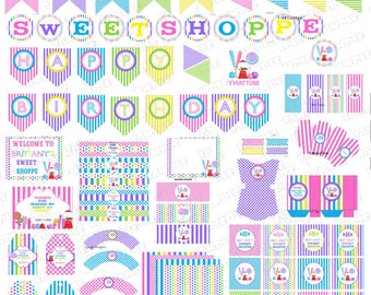 Sweet shoppe candy party Huge birthday NO INVITE printable party supplies  UPrint customized card by greenmelonstudios