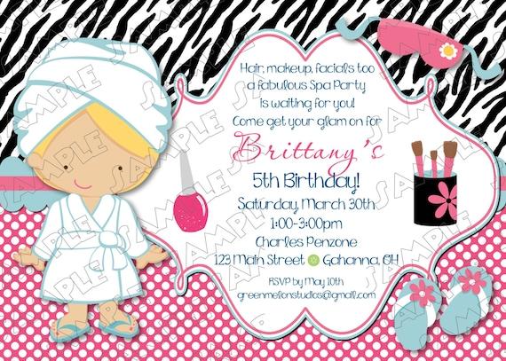 Invitación De La Fiesta De Spa Glamour Fiesta Cualquier Color Cumpleaños Partido Invitaciones Imprimibles Uprint Tarjetas Personalizadas Por
