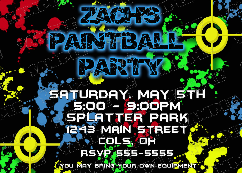 Paintball paintball partido cumpleaños partido invitaciones | Etsy