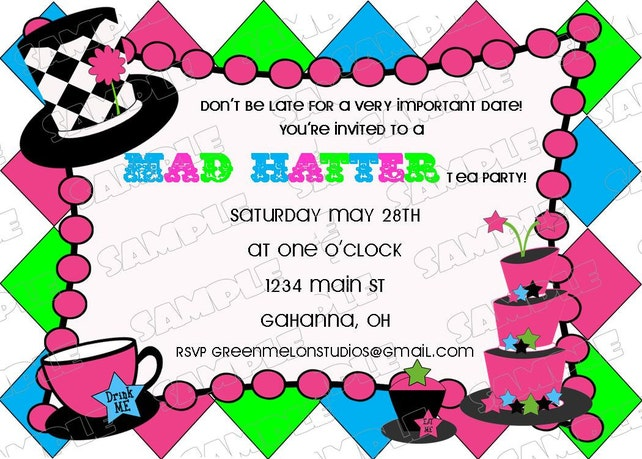 Mad Hatter tea party birthday invitation any color  birthday party printable invitations UPrint customized card by greenmelonstudios