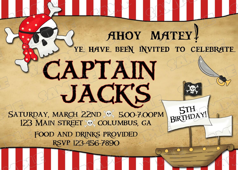 Invitaciones para imprimir de una fiesta de cumpleaños pirata | Etsy