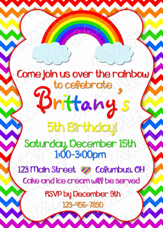 Arco iris invitación fiesta arco iris partido imprimibles | Etsy