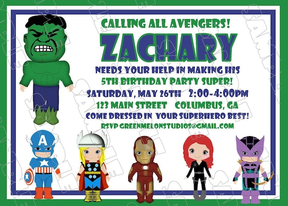 Avengers Hulk Inspired Birthday Party Printable Invitations UPrint Customized Card By Greenmelonstudios