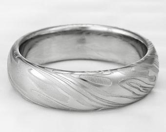 Women's Twisted Woodgrain Damascus Domed Wedding Band. Graceful Feminine White on White Ring  |  ORGANIC WOOD