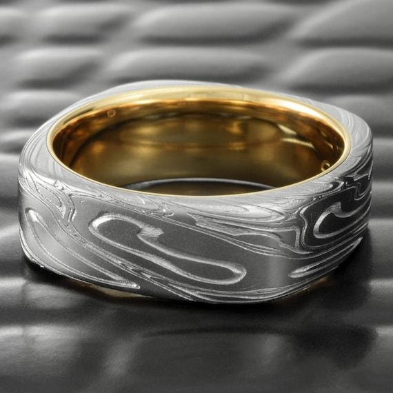 ROMANTIC Wedding DAMASCUS steel Ring RUSTIC Mens and womens |Damascus Steel Rings For Women