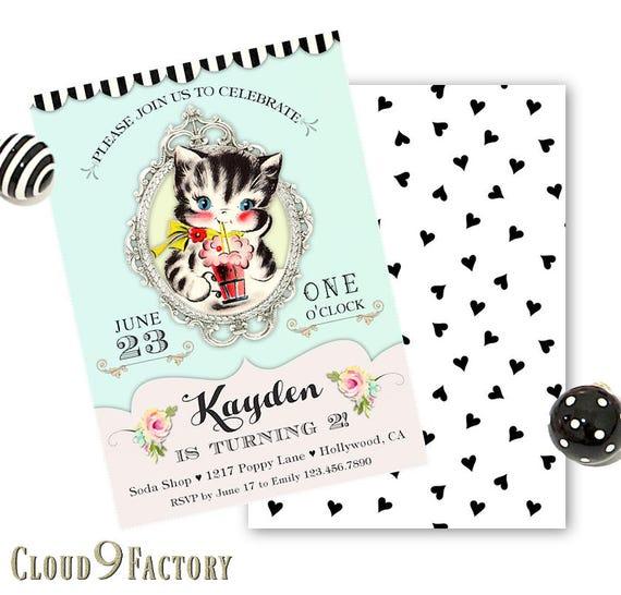Cat Birthday Invitation Kitty Party Invite