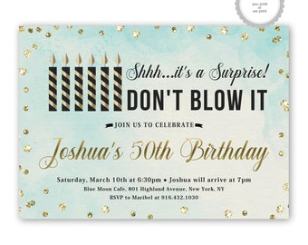 blue surprise birthday invitations, surprise party invites, surprise 50th birthday, men, women, ANY AGE, printable or printed, black, gold
