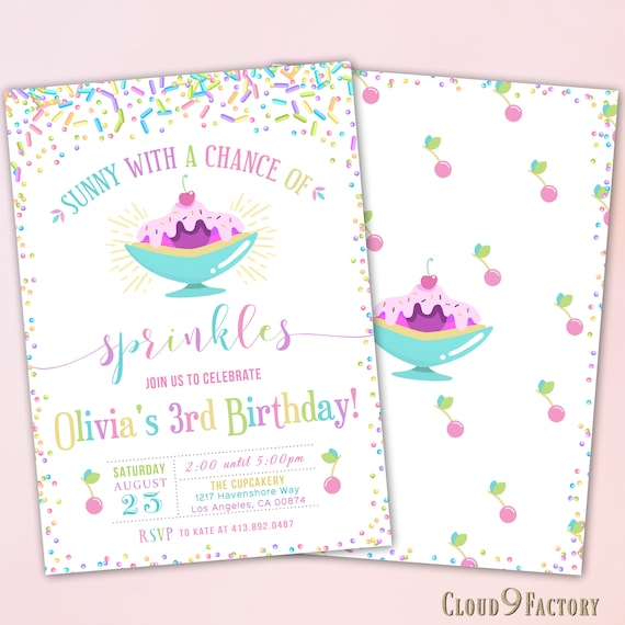 Ice Cream Birthday Party Invitation Sunny With A Chance Of