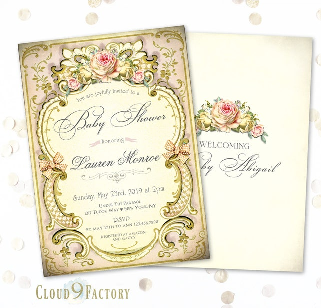 Victorian Tea Party Invitation Victorian Style Baby Shower