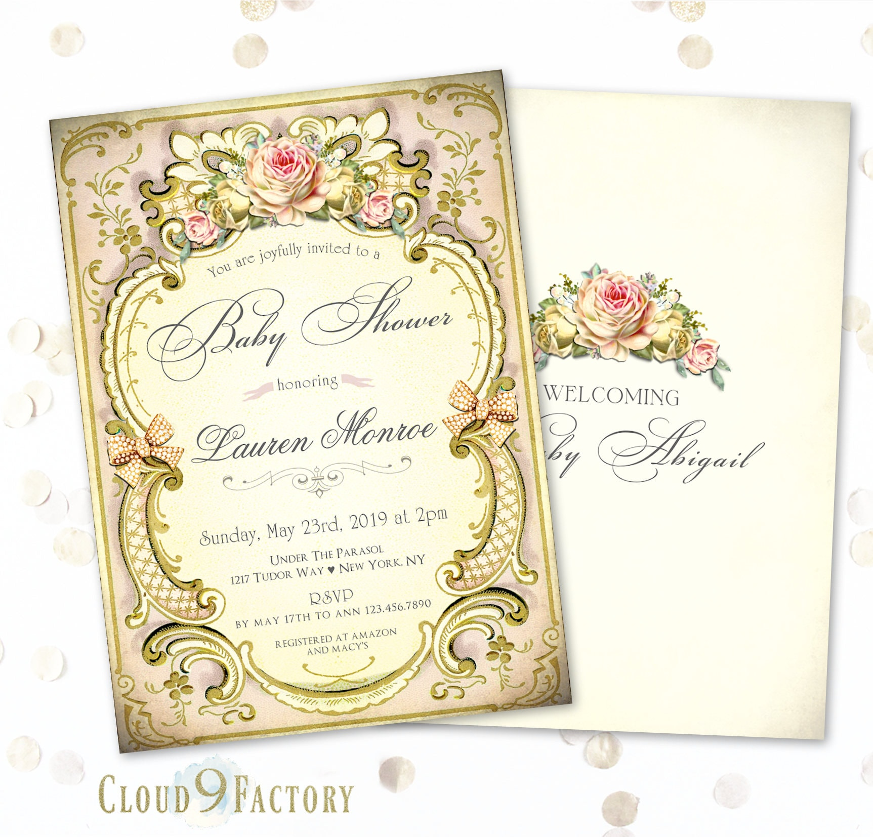 Victorian Tea Party Invitation Style Baby Shower High Invitations Invites Invite