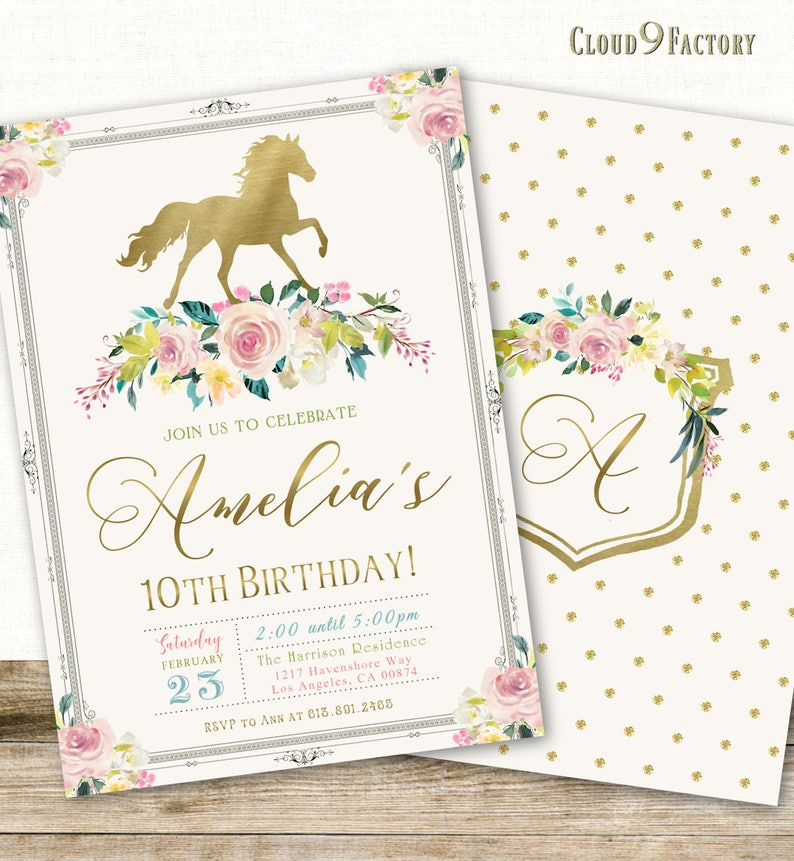 Horse Birthday Invitation Horse Invitation Horse Themed