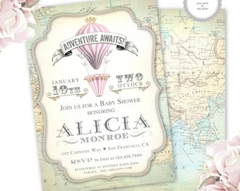 hot air balloon baby shower invitation. adventure awaits invite girl. vintage map, travel themed invitations, printable / printed cards