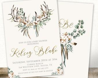 boho antlers baby shower invitation, greenery baby shower invite boy, twins, rustic baby invitations, printable or printed invites, baby boy