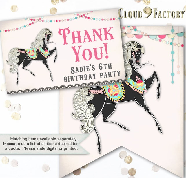 Horse Birthday Invitation Horses Party Invite For A Girl Carnival Invitations Theme Themed Invites