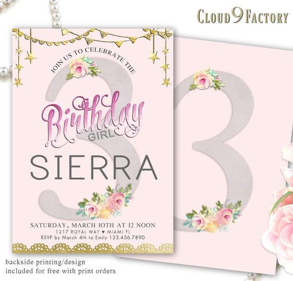 3rd Birthday Invitation Girls Party Invite
