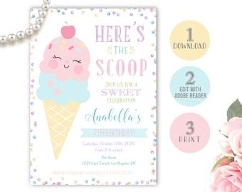 Ice cream birthday invitation, ice cream party invite, scoop there it is it, here's the scoop, girls ice cream birthday party, editable file