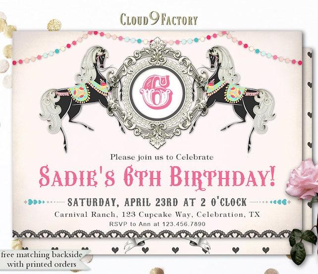 Horse Birthday Invitation Horses Party Invite For A Girl Carnival Invitations Theme