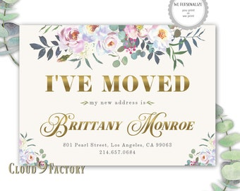 floral i've moved cards, moving announcement card, change of address, we've moved, elegant moving cards, new home, watercolor florals