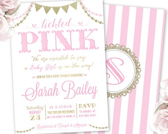 tickled pink invites, pink and gold baby shower invitations, twin girls baby shower, baby sprinkle, couple's shower, monogram invitation