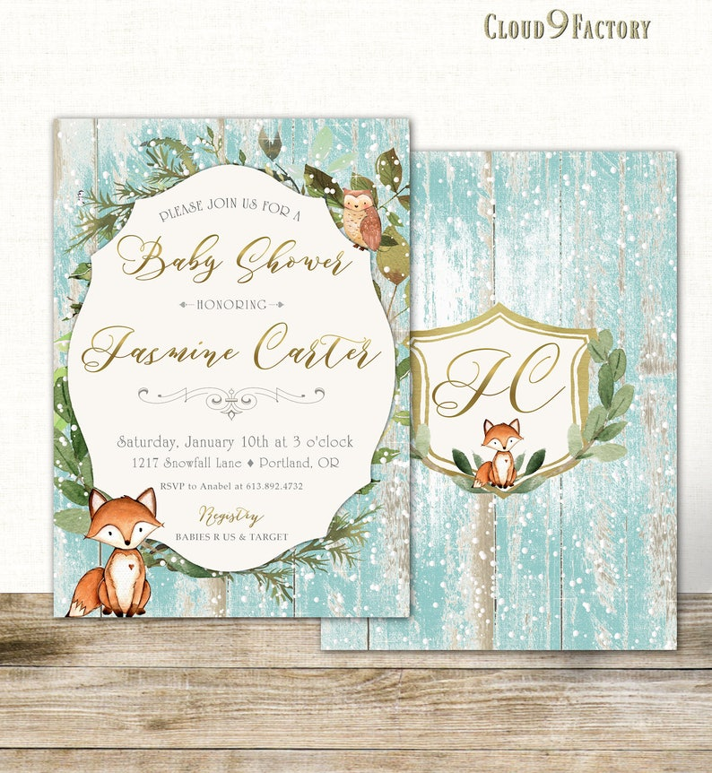 Winter Baby Shower Invitation Winter Wonderland Baby Shower  cacff9a314