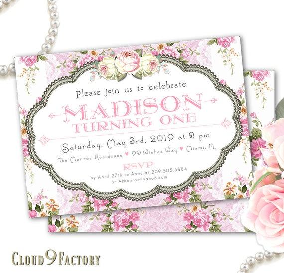 floral 1st birthday invitation girl girls birthday etsy