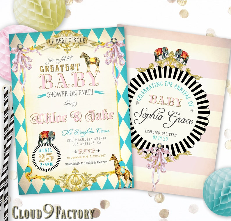 Circus Baby Shower Invitation Circus Baby Shower Invite Girl Vintage Style Circus Invitations Circus Animals Invites Circus Theme Shower