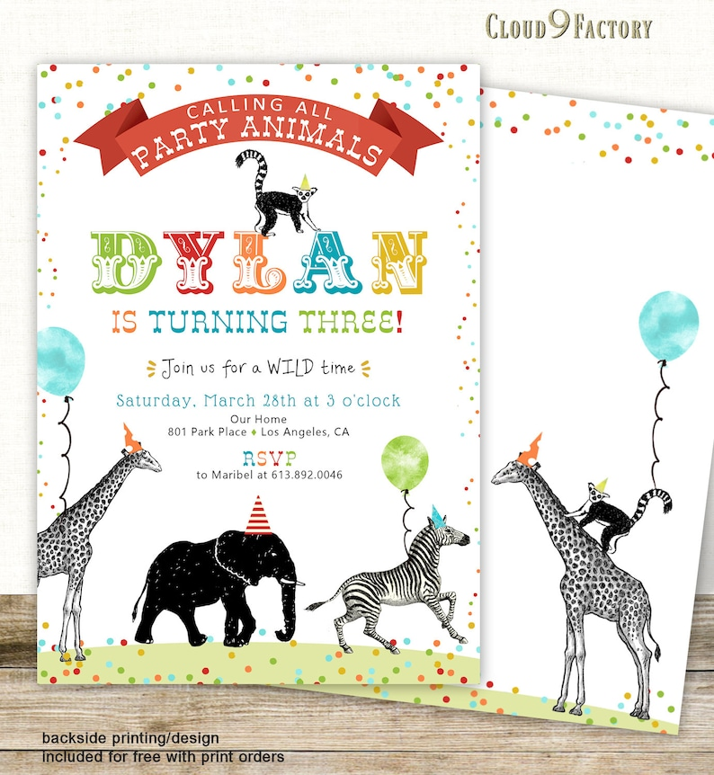 Calling All Party Animals Birthday Invitation Zoo