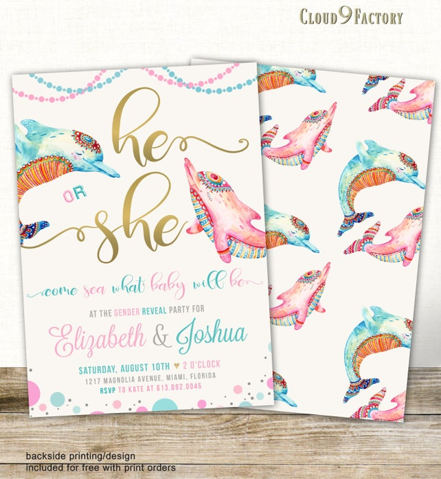 Dolphins Gender Reveal Invitation, Gender Reveal Party Invites, Ocean, Sea Life, Under the Sea, Gender Reveal Invites, Dolphin Theme Invite