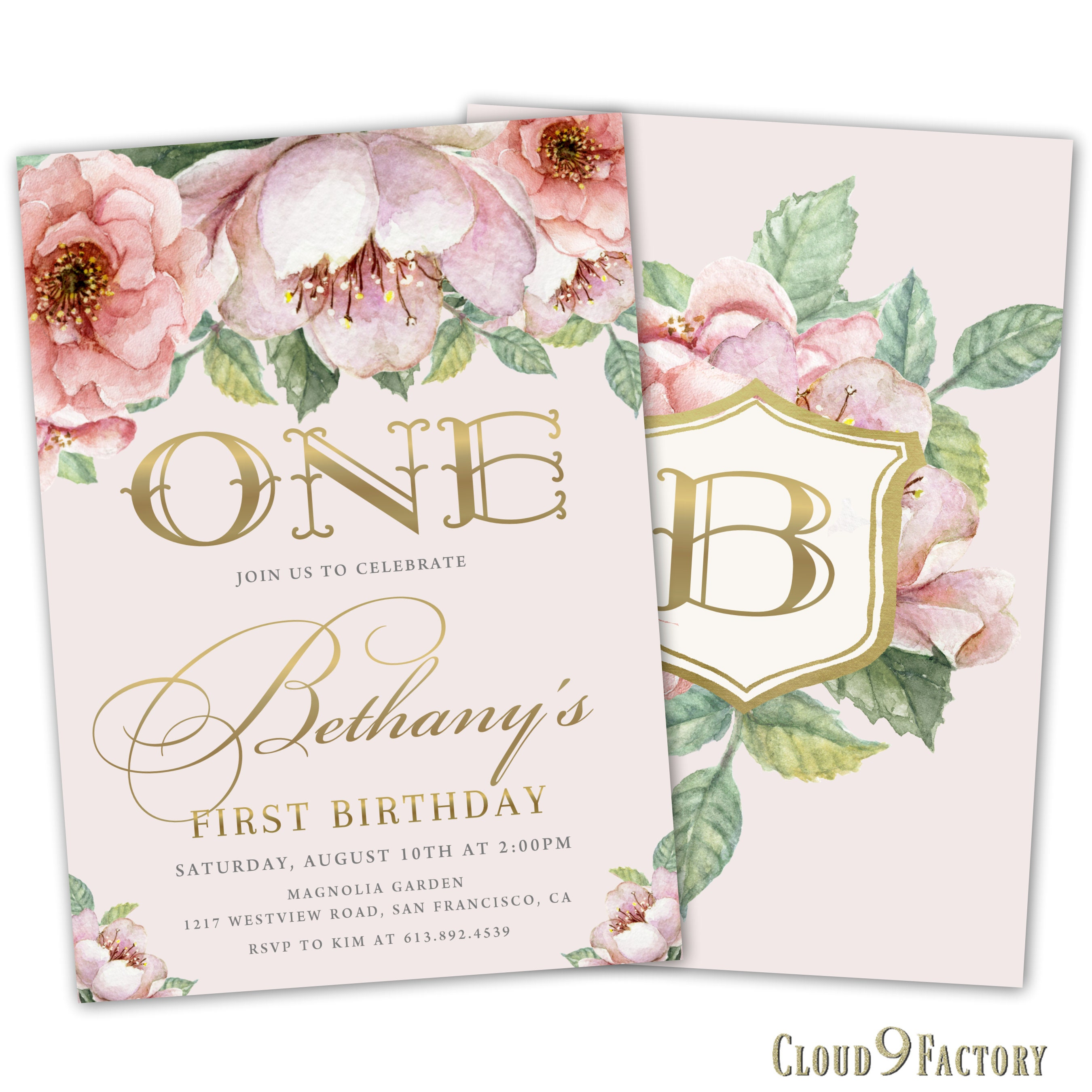 1st Birthday Invitation Girl Floral 1st Birthday Invite 2nd | Etsy