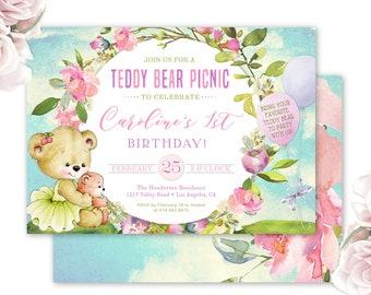 teddy bear invitation, teddy bear picnic birthday party invite, teddy bear themed party, girl's birthday, balloons, printable or printed,