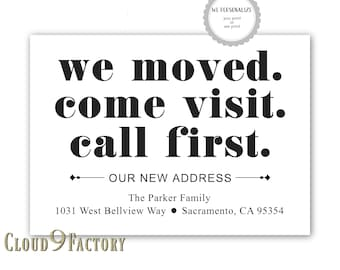 change of address cards, moving announcements, funny, black and white, we've moved, printable or printed, new address, new home cards