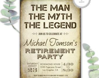 retirement invitations, men's retirement party invites, funny retirement invitations, the man the myth the legend, surprise retirement party