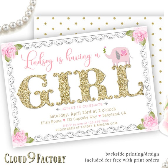 Elephant Baby Shower Invitations Invitation Girl Pink And Gold Invite