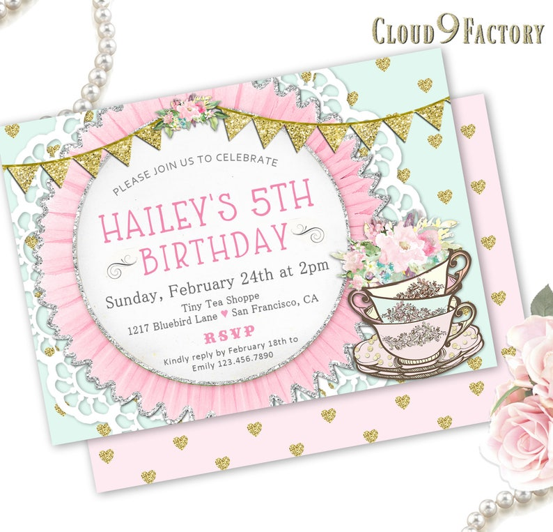 Tea Party Birthday Invitation Tea Party Invitation Printable Download Or Printed Birthday Tea Party Tea Party Invites For Little Girls