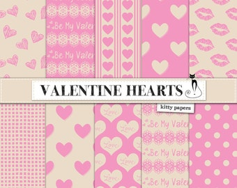 "Valentine digital paper : ""Valentine Hearts"" pink and cream digital valentine papers with hearts, scrapbook digital paper, pink papers"