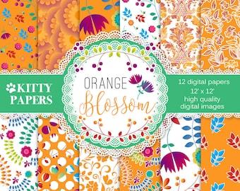 """Orange digital paper : """" Orange Blossom"""" floral digital paper, orange floral patterns, colorful flower paper, summer digital paper, flowers"""