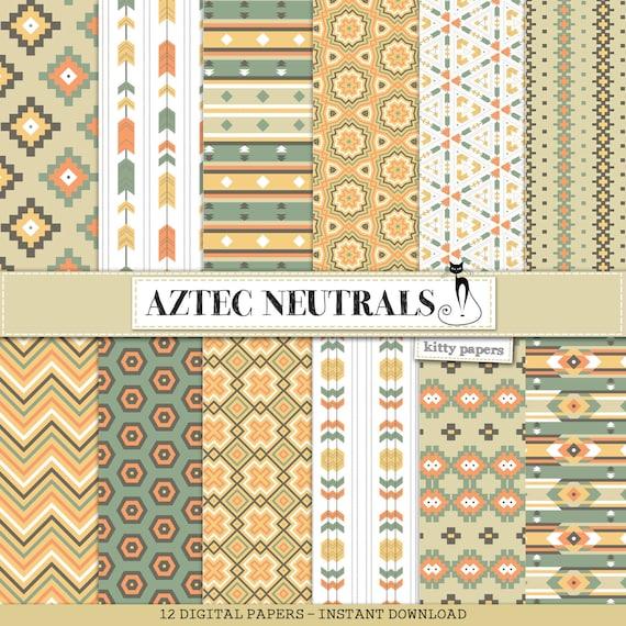 Aztec Digital Paper Aztec Neutrals Aztec Etsy
