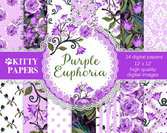 "Purple digital paper : ""Purple Euphoria"", floral digital paper in pink and purple, flower backgrounds for scrapbooking, decoupage, invites"