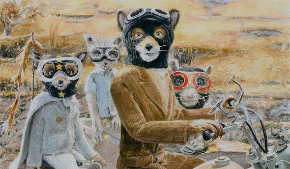 Fantastic Mr Fox Motorbike Scene Good Luck Out There Etsy