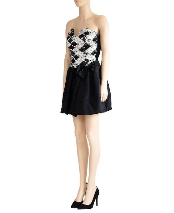 Jessica McClintock Sequin Black Bubble Dress, Vin… - image 3