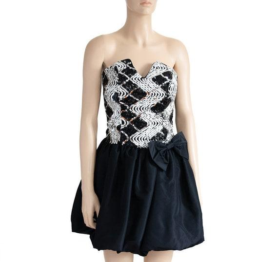Jessica McClintock Sequin Black Bubble Dress, Vin… - image 5