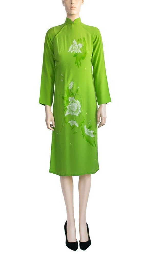 Vintage 1970s Dress 70s Lime Green Asian Floral Dr