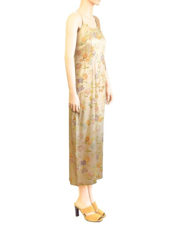 Laura Ashley Pale Yellow Silk Floral Dress, Vinta… - image 3