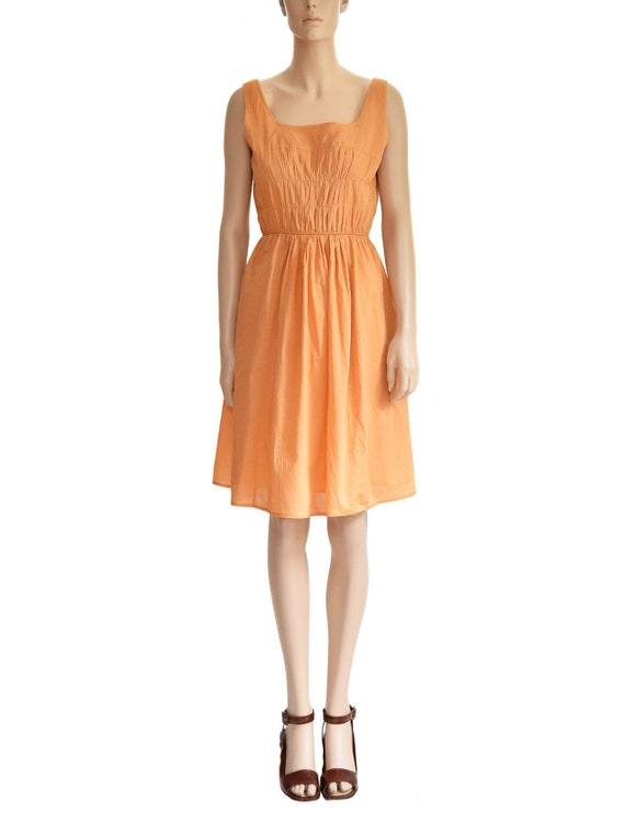 Vintage 1990s Dress 90s Mossino Ruched Orange Cott