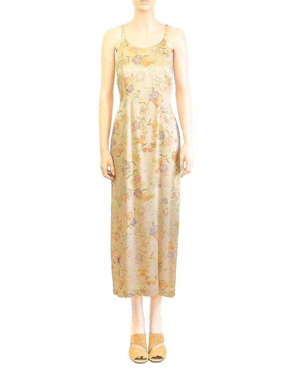 Laura Ashley Pale Yellow Silk Floral Dress, Vinta… - image 1