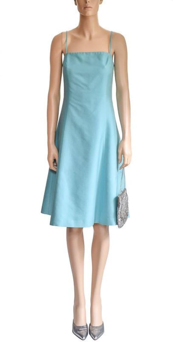 Vintage 1990s Dress, 90s Ann Taylor Turquoise Silk