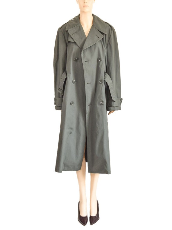 Military Olive Green Trench Coat, Vintage 80s, Si… - image 3