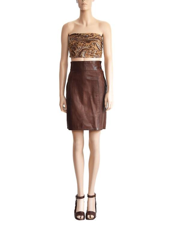 Vintage Skirt, Calvin Klein Brown Leather Skirt, W
