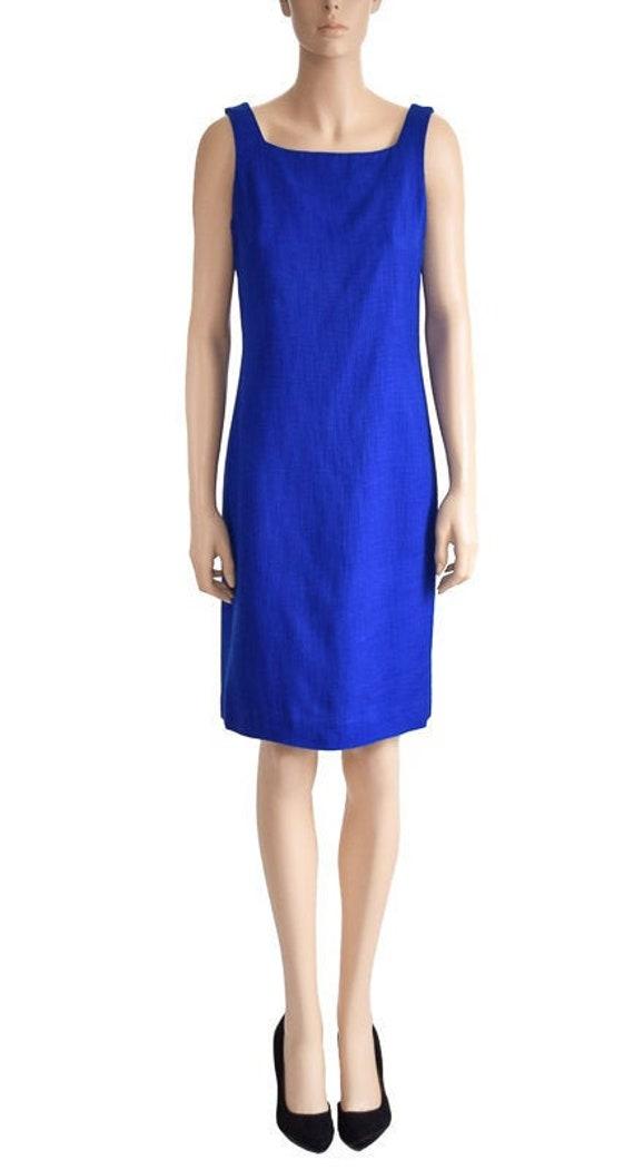 Vintage 1990s Dress, 90s Talbot Cobalt Blue Sheath